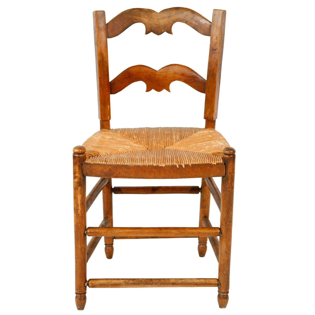 Petite Late 19th Century French Side Chair With Rush Seat
