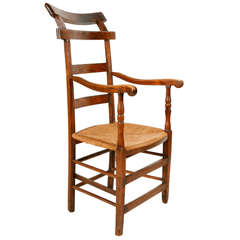 Ladder Back Oak and Elm Chair with Rush Seat