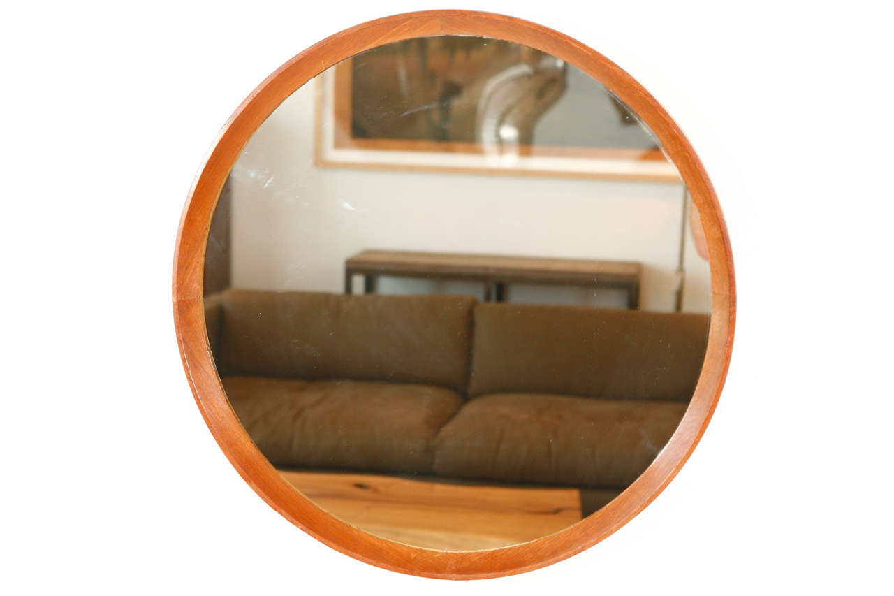 Italian wood framed round wall mirror large at 1stdibs Round framed mirror