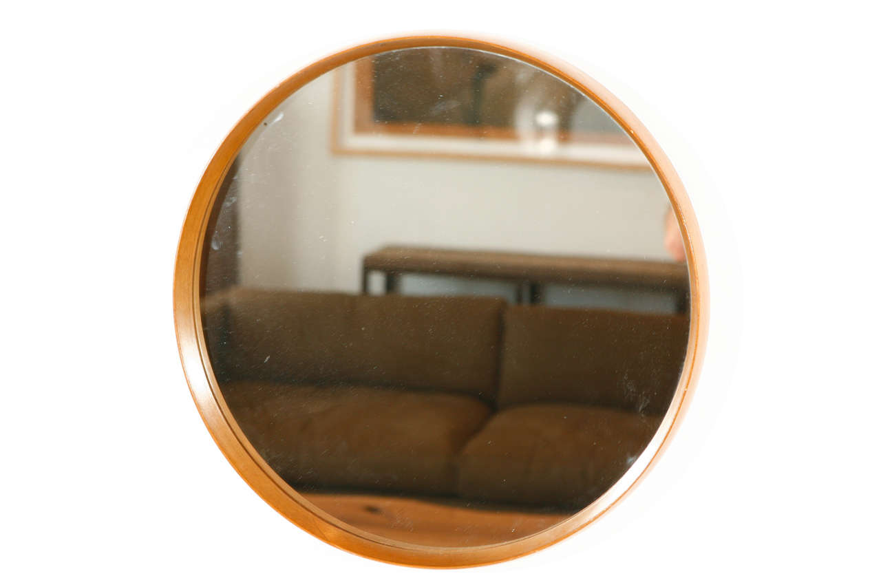 Italian wood framed round wall mirror small at 1stdibs for Round wood mirror