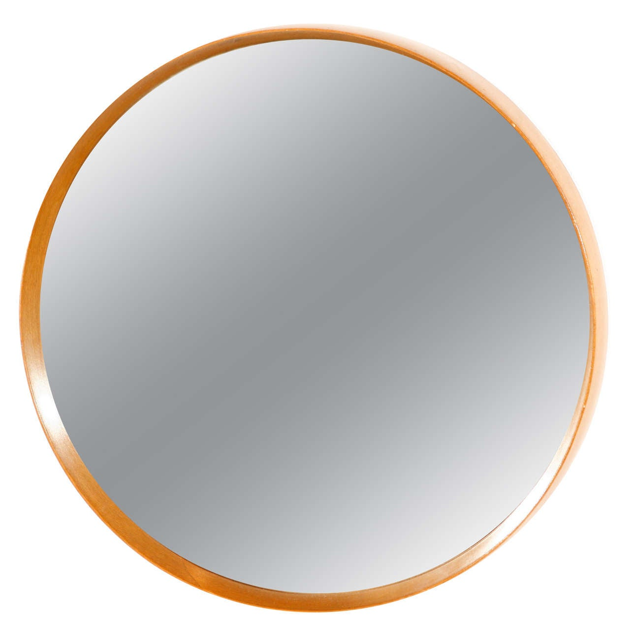 Italian wood framed round wall mirror small at 1stdibs Round framed mirror