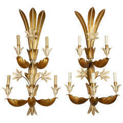 Pair Of 1930s French Iron And Crystal Wall Sconces For