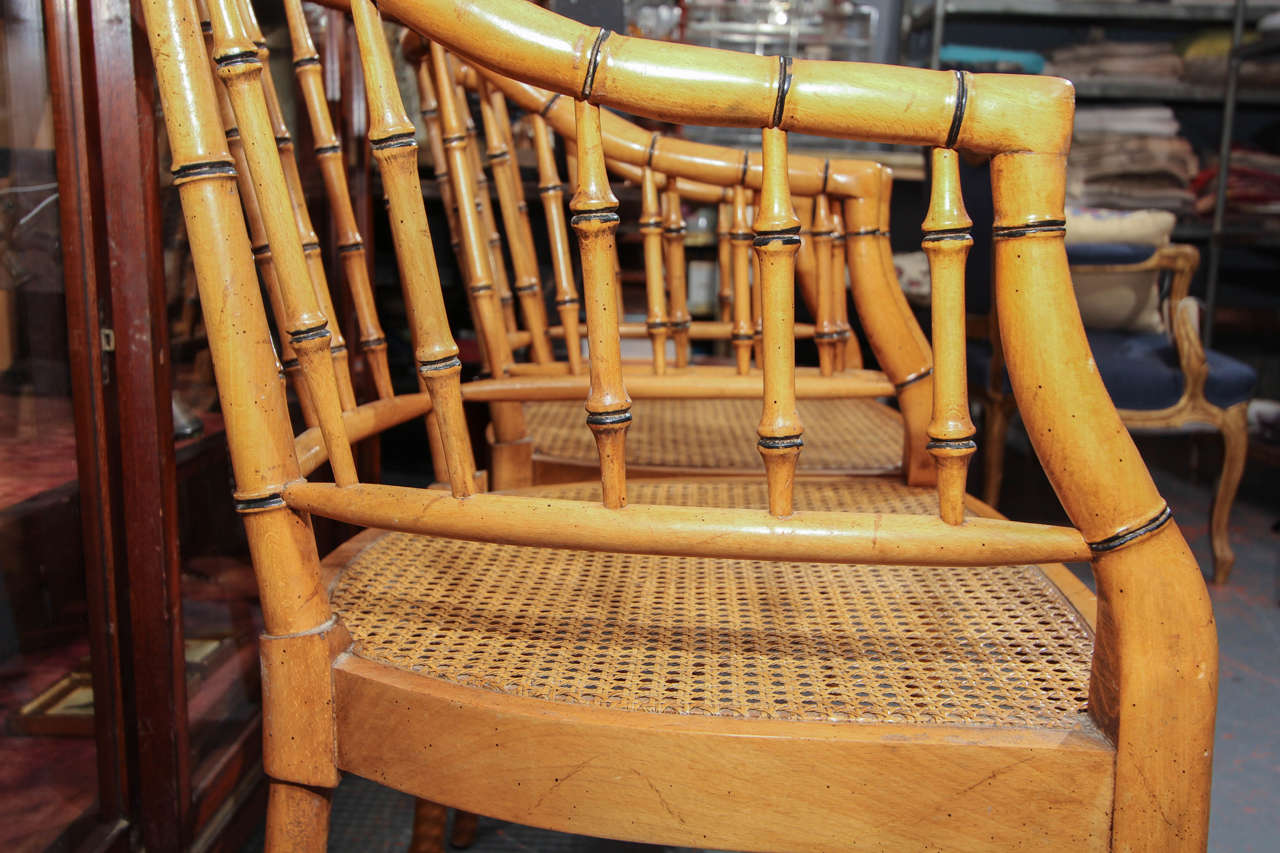 Set Of 4 Mid Century Faux Bamboo Chairs At 1stdibs