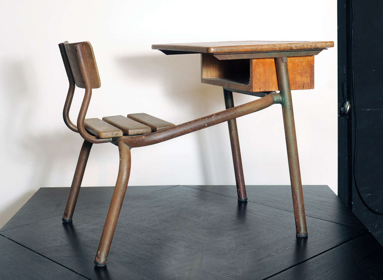 Desk Bureau DÉcole Possibly Jean Prouvé For Sale at 1stdibs