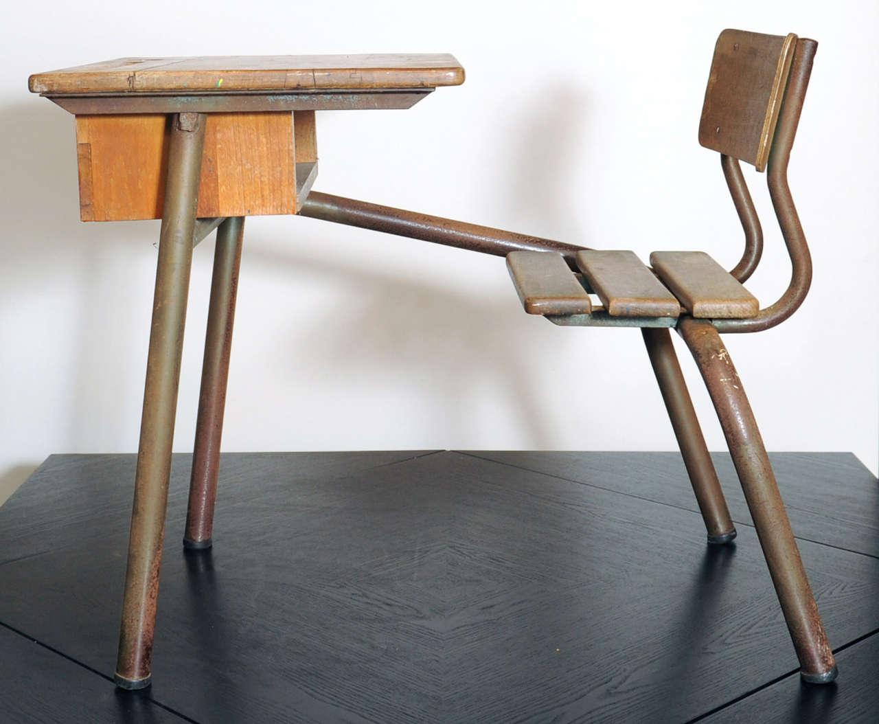 desk bureau d 39 cole possibly jean prouv at 1stdibs. Black Bedroom Furniture Sets. Home Design Ideas