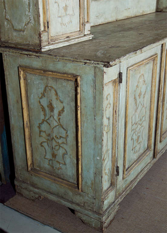 Sacristy Cabinet painted wood with ten cabinets and eight drawers.(two pieces)