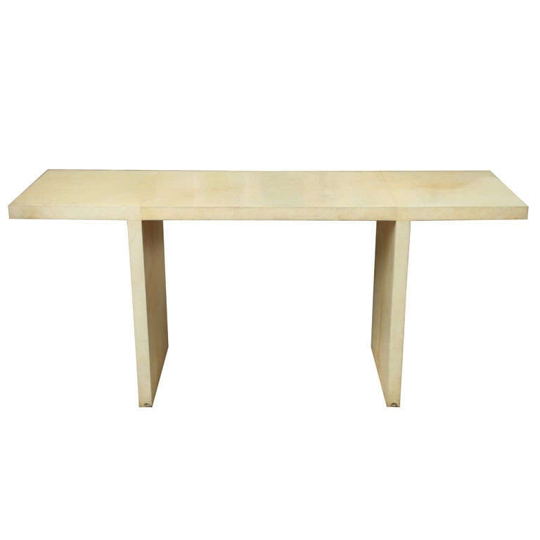 French Modern Parchment Console Table