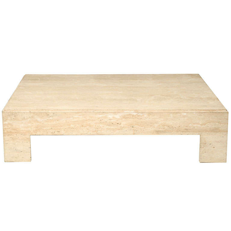 Travertine Slab Coffee Table: Italian Modern Travertine Marble Low Table, In The Manner
