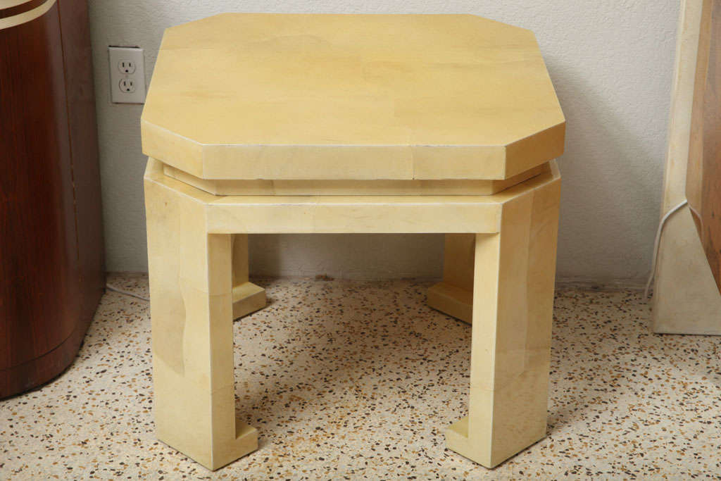 Colombian Large Enrique Garces Parchment End Table For Sale