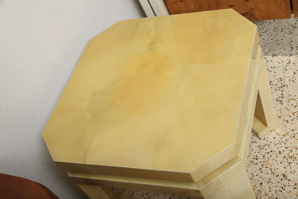 Goatskin Large Enrique Garces Parchment End Table For Sale