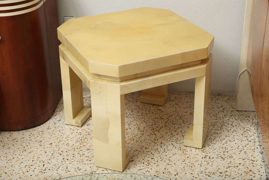 Large Enrique Garces Parchment End Table For Sale 2