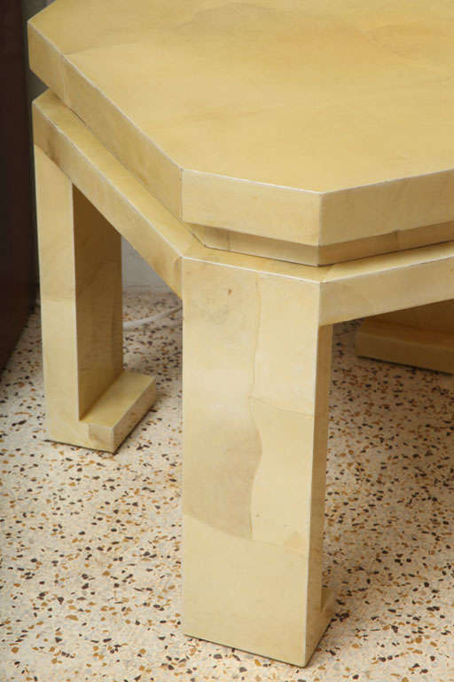 Large Enrique Garces Parchment End Table For Sale 3