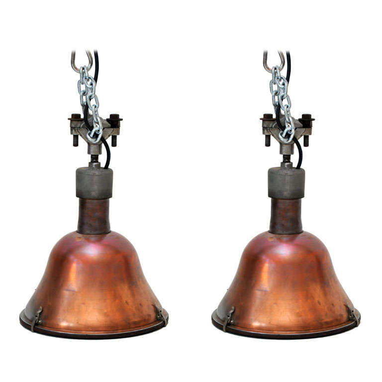 Large Copper Pendant Lighting : Pair of large industrial copper pendant lights at stdibs
