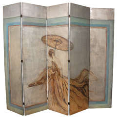French Deco Style Silver Leaf Screen