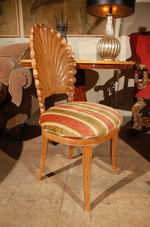 Carved Wooden Shell Back Chair At 1stdibs