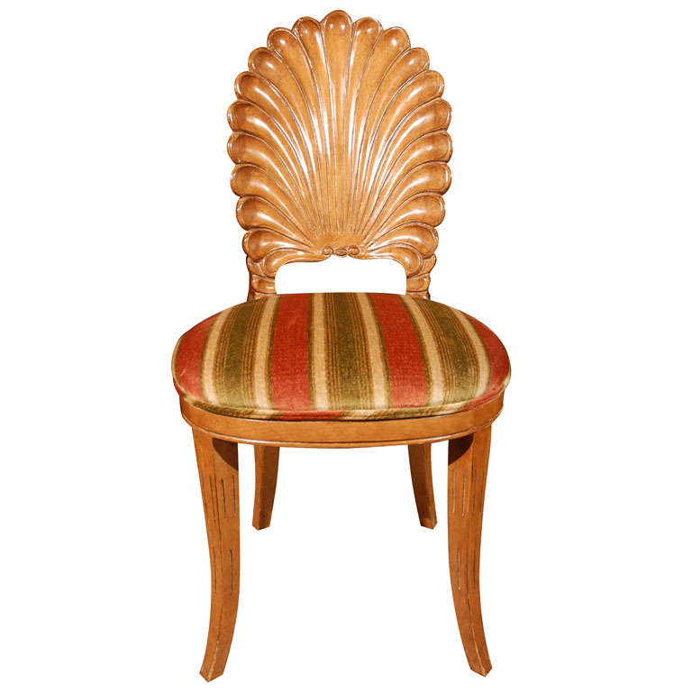 Carved wooden shell back chair at 1stdibs for Carved wooden chaise