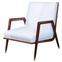 Fine Italian Mahogany Modern Armchair, Manner of Ponti