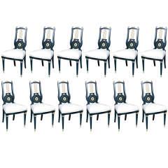 Set of 12 Maison Jansen Lyre Back Chairs