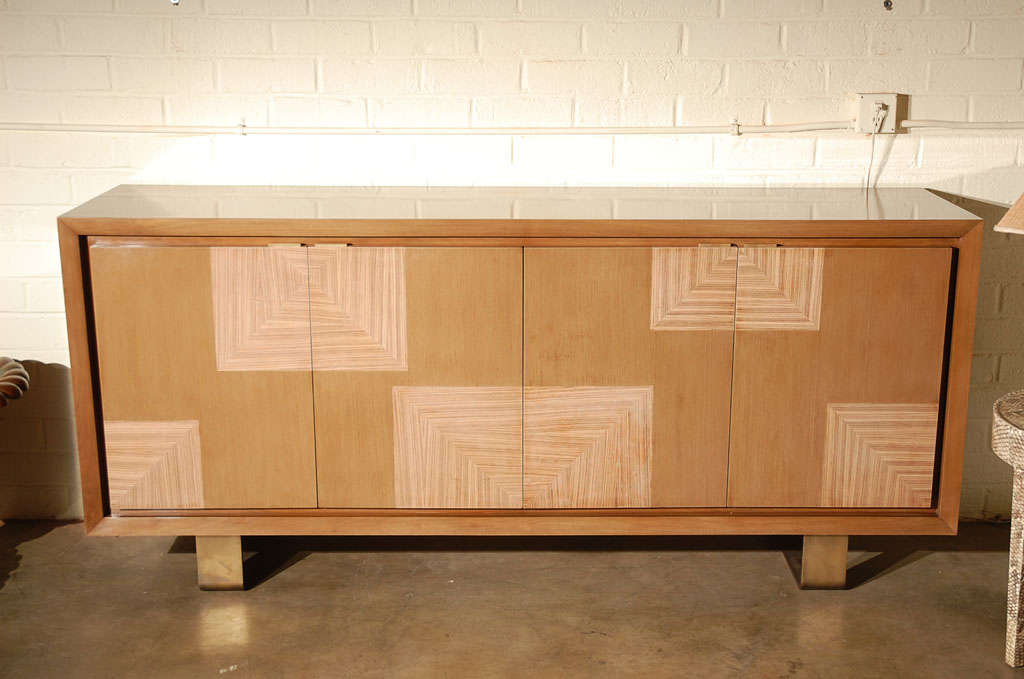 Walnut buffet or sideboard with zebra wood veneer at 1stdibs for Meuble tv zebra