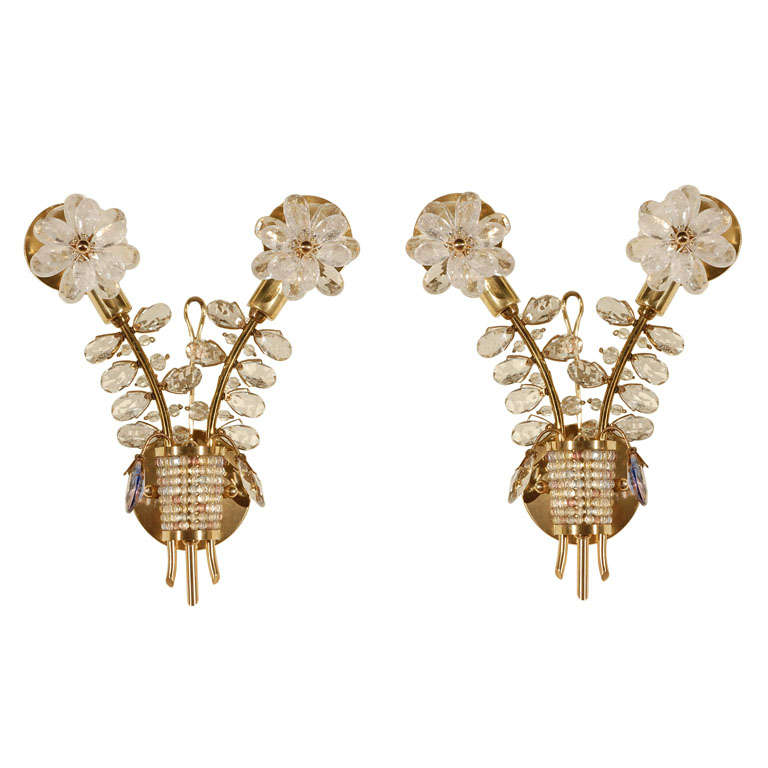 Pair French Crystal Sconces at 1stdibs