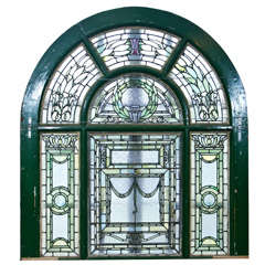 Antique Arch Top Stain Glass Window