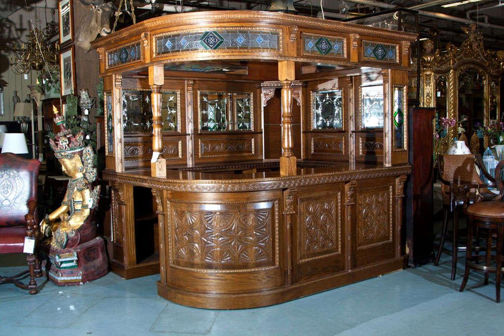Vintage English Oak Corner Pub Bar At
