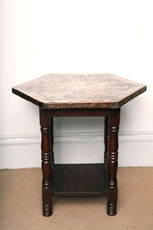 English Arts And Crafts Hammered Copper Table At 1stdibs