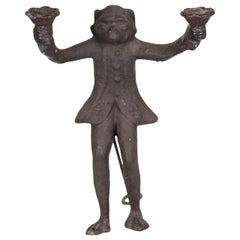 Iron Redcoat Monkey Candleholder, Late 18th or Early 19th Century