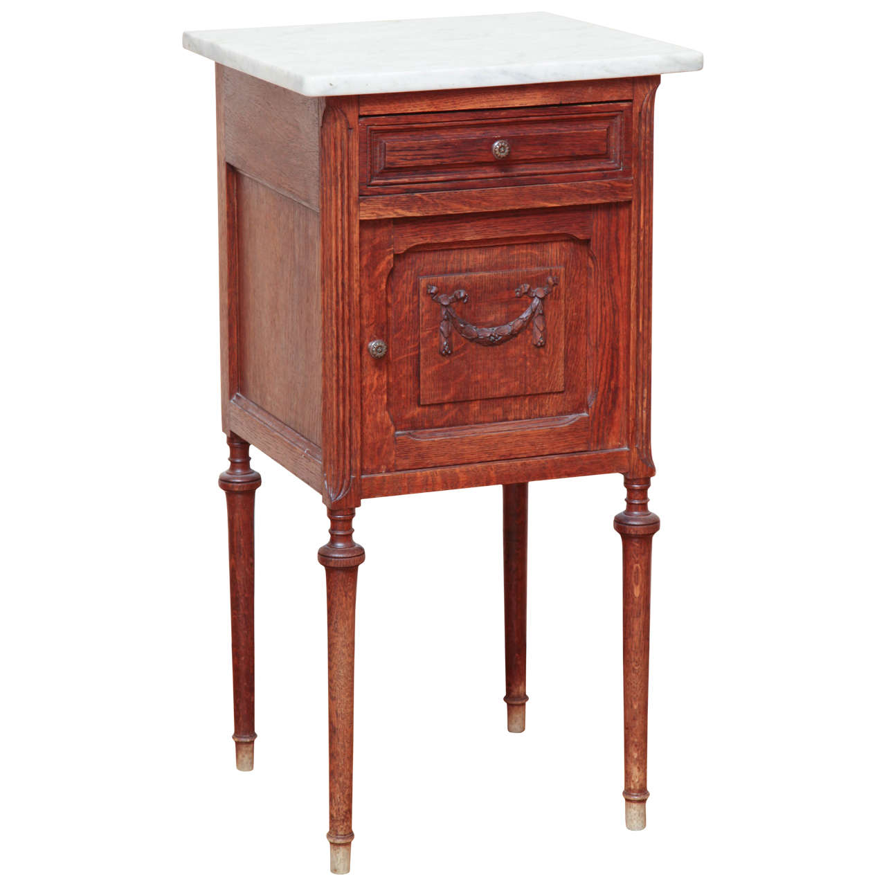 Marble Top Oak Night Stand For Sale At 1stdibs