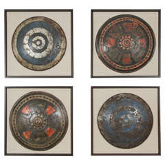 Set of Four Framed, Decorative Shields from Pinewood Studios
