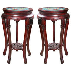 Pair of Rosewood and Champlevé Five Legged Stands