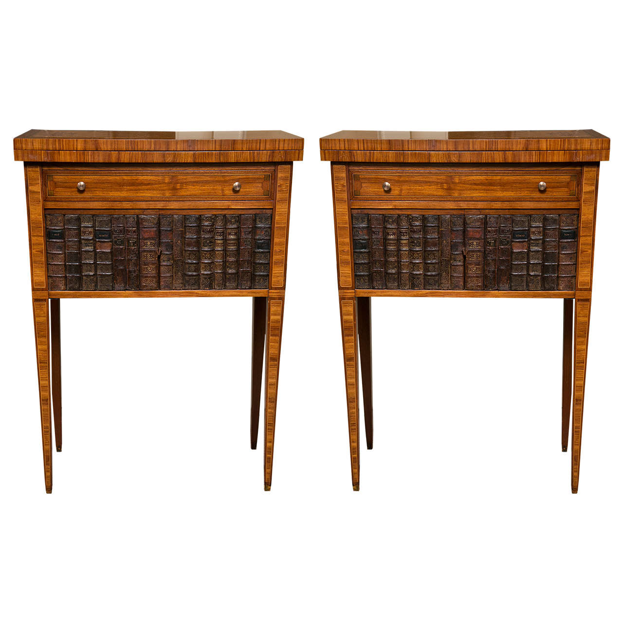 Pair of Faux Book Fronted End or Game Tables at 1stdibs