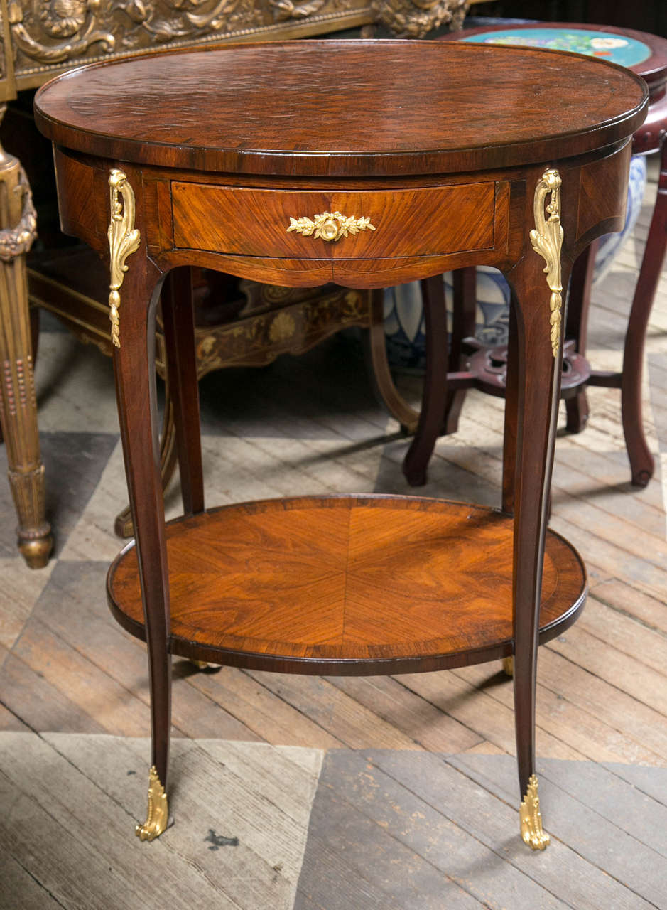 Antique Oval Marquetry Top Two Tier French End Table 2