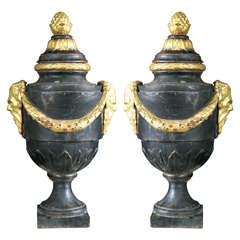 Pair of Cast Iron Lidded Urns