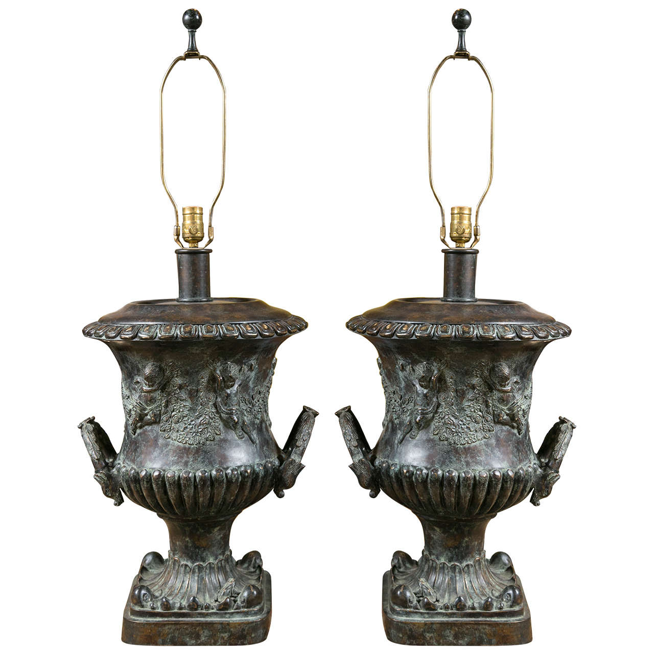 Pair of Cast Bronze Urn Lamps by Maitland Smith For Sale at 1stdibs