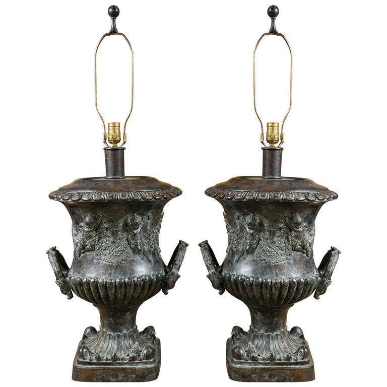 Pair of Cast Bronze Urn Lamps by Maitland Smith For Sale