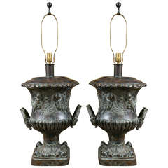 Pair of Cast Bronze Urn Lamps by Maitland Smith