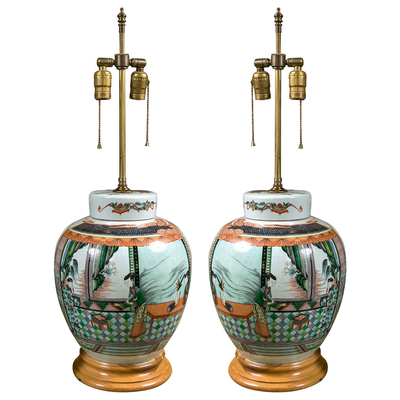 Pair Of 19th Century Chinese Porcelain Ginger Jar Lamps At
