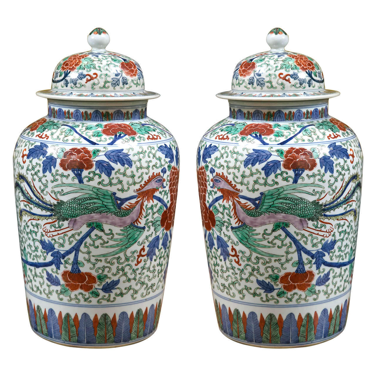Large Pair Of Chinese Porcelain Covered Jars For