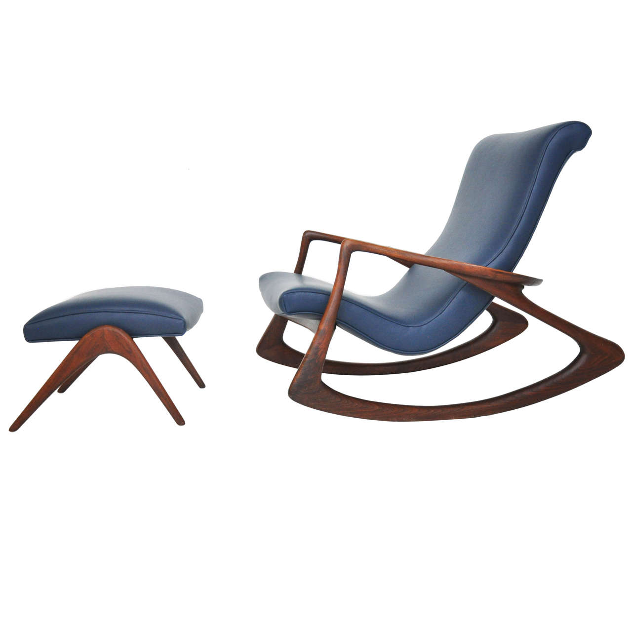 Vladimir Kagan Rocking Chair With Ottoman At 1stdibs