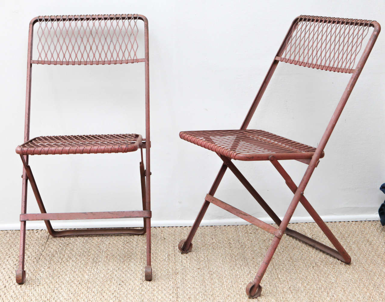 Pair Of Red Metal Folding Chairs For Sale At 1stdibs