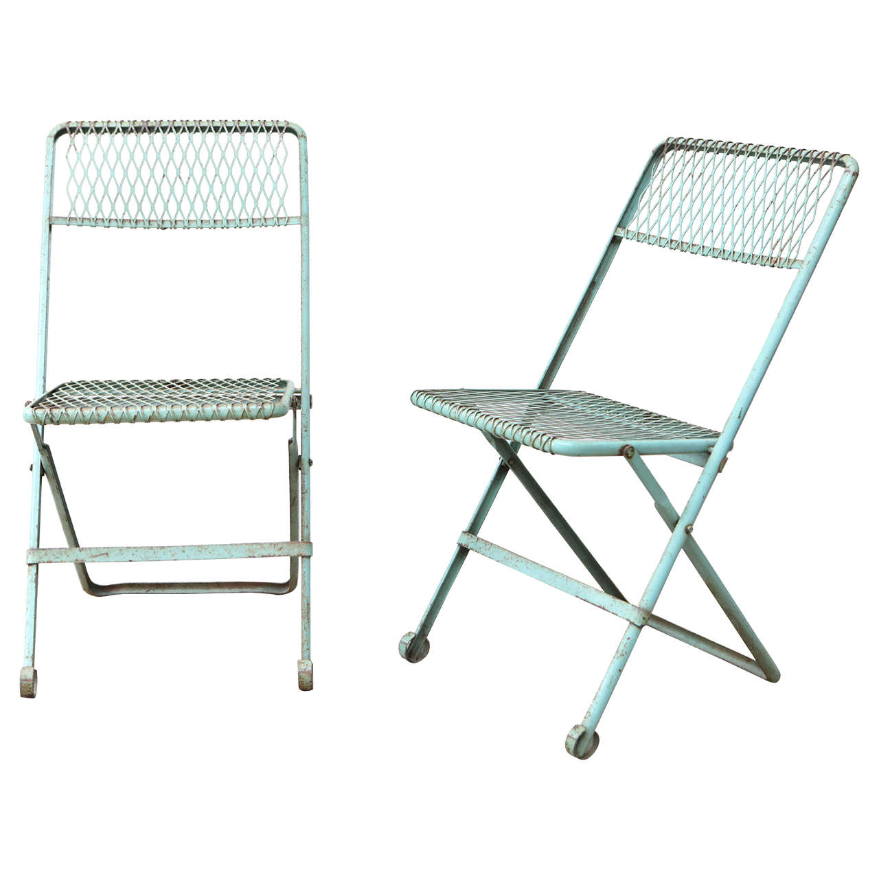 Pair of Blue Metal Folding Chairs at 1stdibs