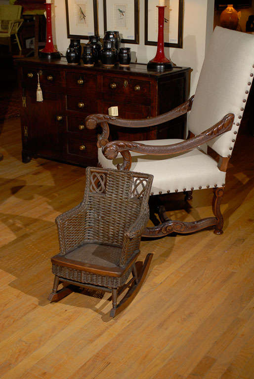 Red Rocking Chair Billy Strings ~ Rare natural wicker child s rocker c at stdibs