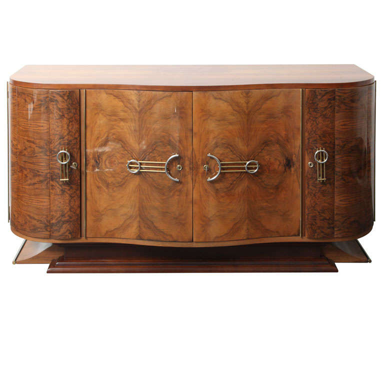 spectacular french art deco exotic walnut buffet at 1stdibs. Black Bedroom Furniture Sets. Home Design Ideas