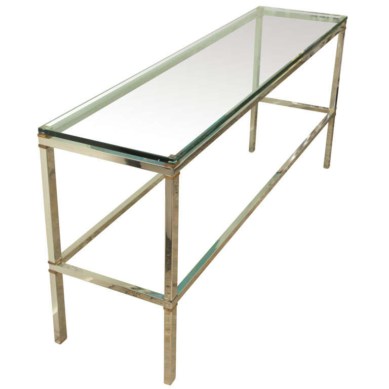 Mixed Metal Heavy Steel Console w/ Brass Spacers