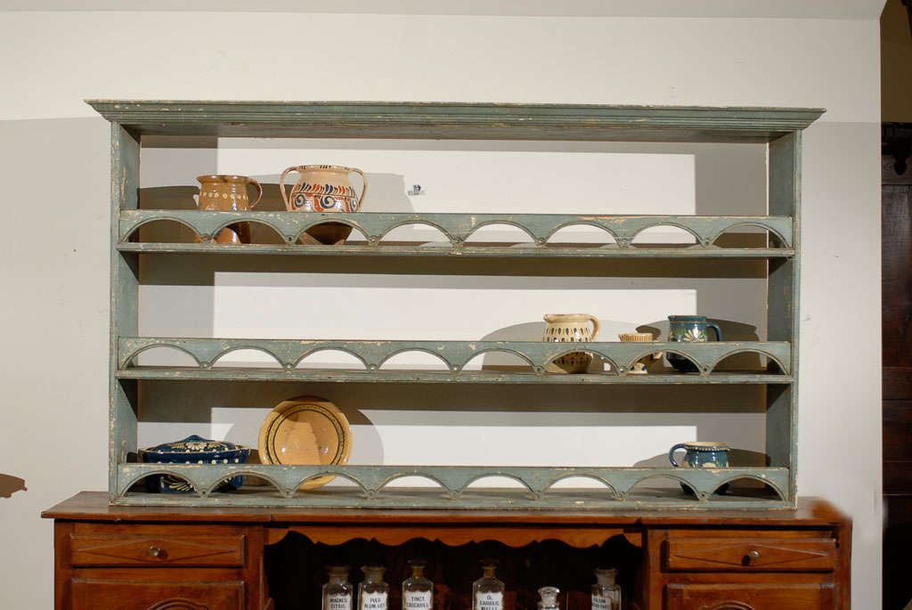 Painted English plate rack with semi circular fretting circa 1900. One of a kind & Painted English Plate Rack with Semi Circular Fretting circa 1900 ...