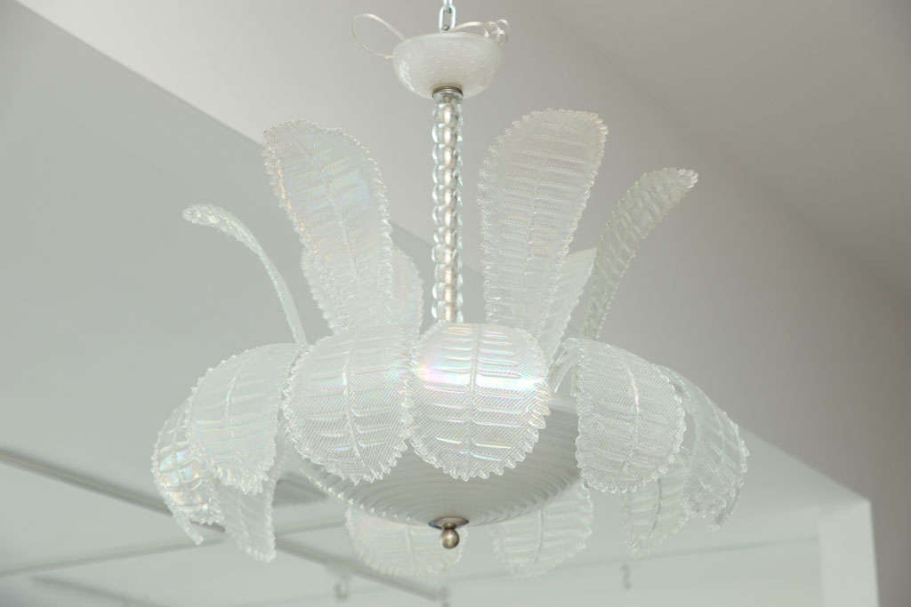 Venini opalescent white glass chandelier with multiple plumes.