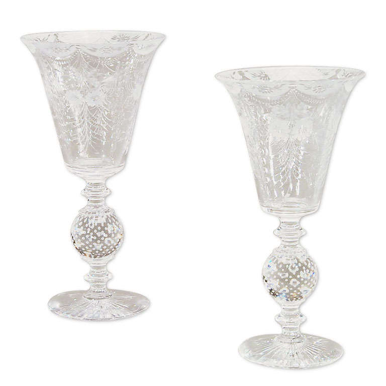 Magnificent Pair Of Palatial Double Overlay Bohemian Trumpet Vases