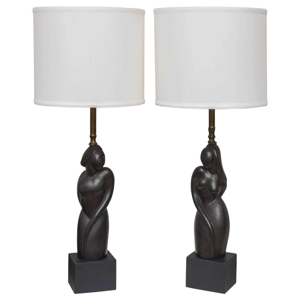 Pair Of Art Deco Style Table Lamps With Male And Female Torsos Mid Century