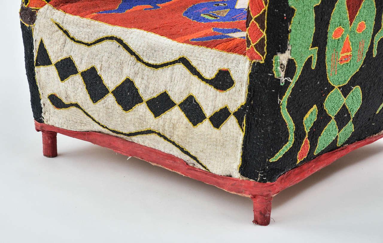 20th Century African Beaded Yoruba Chair